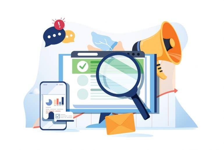 Vetor de busca ilustrando site da empresa na primeira página do google